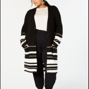 Style & Co 3X Black Cream Duster Cardigan C8-02